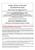 Quelques réflexions sur l'état actuel de la préparation du congrès par Gisèle Cailloux